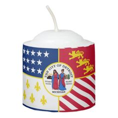 #Flag of Detroit Michigan Votive Candle - #candle #candles #special #custom