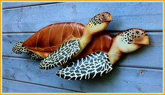 SEA TURTLE wood carvings swiming pair 35x13x7 inches by WOODNARTS, $325.00
