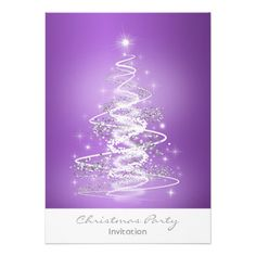 $1.70 Christmas party invitation with Tree Purple