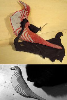 Hand-made chew toy made by me. Before (bottom) and after (above) Stuffed with my husband's old socks.