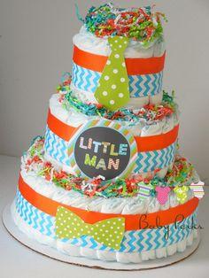 Little Man Diaper Cake , Orange blue diaper cake, bow tie baby shower , baby shower decorations Baby Cakes, Baby Shower Cakes, Idee Baby Shower, Shower Bebe, Baby Shower Diapers, Baby Boy Shower, Baby Shower Gifts, Baby Gifts, Baby Showers