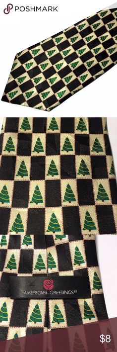 American Greetings Christmas Tree Silk Necktie Tie Nice looking American Greetings Christmas tree tie. 100% silk.  4 inches wide at widest point 59 inches long.  You will love this tie!  Thank you for viewing. American Greetings Accessories Ties