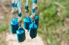 Turquoise Beaded Hanging Mobile-aqua mobile-outdoor wind chimes-garden wind chime-garden decoration-garden bell-outdoor chime-outdoor bell by RONITPETERART on Etsy