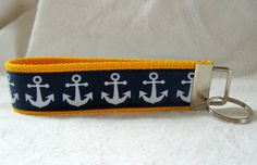 Nautical Key Fob Yellow Navy Anchors Key Chain by CreativeJenV (Accessories, Keychains & Lanyards, Keychains, keychain, key fob, wristlet keychain, handmade, fabric key fob, fabric keychain, keychain fob, nautical key fob, nautical key chain, anchors key chain, yellow navy anchors, anchors key fob)