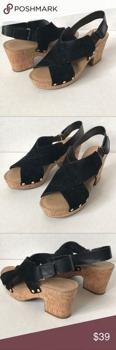 """Franco Sarto Cork Heel Platform Sandal Black Suede Franco Sarto Cork Heel Platform Sandal Size 9.5  Color: black Suede/Leather and Man made upper Balance man made Velcro heel strap  Length (heel-to-toe): 10.5"""" Width: 3.75"""" Heel height: 3.25"""" with 1"""" Platform Franco Sarto Shoes Sandals"""