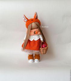 Купить или заказать Интерьерная кукла большеножка тыквоголовка Лисёна! в…