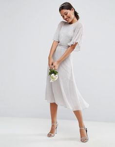 ASOS WEDDING Embellished Flutter Sleeve Midi Dress at Asos #affiliatelink