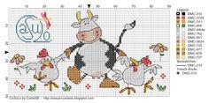 Cross-stitch Dancing Cow & Chickens...   CaSuLo by CarlaSB
