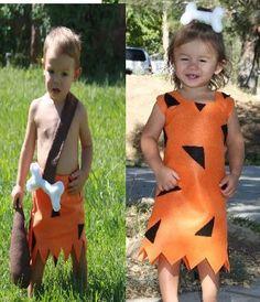 bam bam costume and pebbles twins 2 costumes Flintstone costumes siblings boy girl via Etsy
