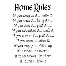 Home Rules Decor vinyl wall decal quote sticker Inspiration Art Decor