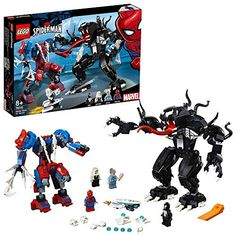 LEGO Super Heroes Marvel Spider Mech Vs Venom Action Toy Building Kit with Web Shooter and Gripping Toy Claw Includes Spider Man Minifigures Venom and Ghost Spider Pieces Marvel Avengers, Lego Marvel Spiderman, Lego Dc Comics Superheroes, Lego Batman, Lego Building Sets, Lego Sets, Legos, All Lego, Action Toys