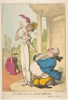 Dropsy Courting Consumption  Thomas Rowlandson (British, London 1757–1827 London)  Publisher: Thomas Tegg (London) Date: October 25, 1810 Medium: Hand-colored etching Dimensions: sheet: 13 3/8 x 9 1/16 in. (33.9 x 23 cm) mount: 17 3/8 x 12 5/8 in. (44.1 x 32 cm) Classification: Prints Credit Line: The Elisha Whittelsey Collection, The Elisha Whittelsey Fund, 1959 Accession Number: 59.533.1836