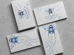 Business card design for Bumble Flower Company. Printed on elegant 19PT Velvet card stock.
