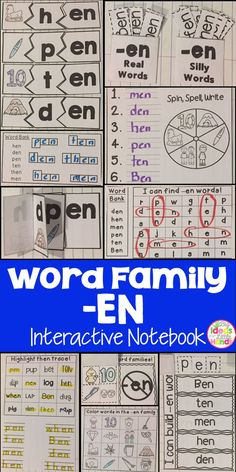 This is a Word Family Interactive Notebook to help students practice and learn CVC words and word families. There are 22 different activities for the word family -en to help your students master the word family. You may choose which activities are best for your students. The activities include: - Sort by word family - Word Family Word Search - ABC Order - Roll, Write, Graph - Spin, Write, Graph - Real & Not Real Pockets - Building Words - Highlight then Trace - Color the Pictures - Decorate…