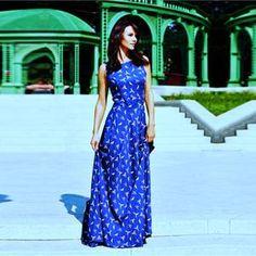 95185e6569f BLUE BIRDS DIGITAL PRINTED WESTERN MAXI - Awesome Fa Linen Dresses