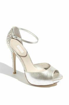White satin peep toes
