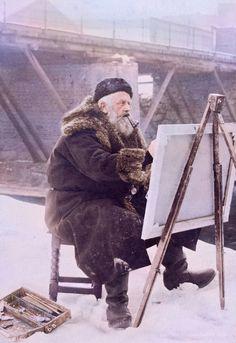 """Norwegian artist Frits Thaulow painting """"En plein air"""" circa 1900"""