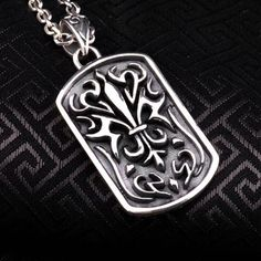 Men's Sterling Silver France Fleur de lis Tag Pendant Necklace with Sterling Silver Anchor Link Chain Silver Chain For Men, Mens Silver Jewelry, Chains For Men, Jewelry Art, Jewelry Design, Jewellery, Men Necklace, Pendant Necklace, Necklace Designs