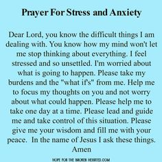 Prayer for stress and anxiety                              …