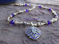 Sold $30.00 Creative Art Expressions Handmade Blue & Gold Necklace Jewelry Design.