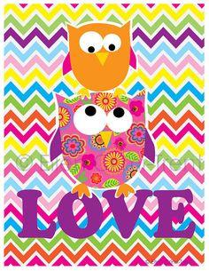 Kids Wall art Owl chevron love kids decor by EllenCrimiTrent, $18.00