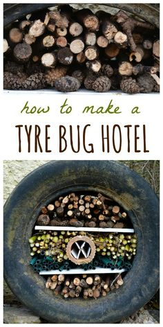 Create your own recycled tyre bug hotel. Learn how to use Create your own recycled tyre bug hotel. Learn how to use an old tyre with a ste… Create your own recycled tyre bug hotel. Learn how to use an old tyre with a ste… - Recycled Garden, Diy Garden, Garden Club, Garden Projects, Garden Kids, Tyre Garden, Garden Totems, Garden Whimsy, Garden Junk