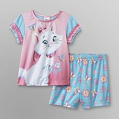 Disney Baby- -Aristocats Infant & Toddler Girl's Pajama Shorts Set - Marie