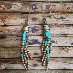 Turquoise and Brown Glass Seed Bead Earrings by WildHoneyPieDesign