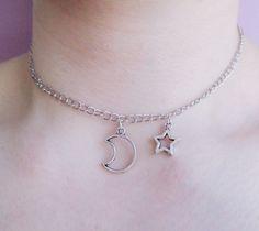 pastel goth / grunge moon and star choker