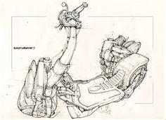Scooter.Author Aleksey Lubimov. #алексейлюбимовбиомеханика #алексейлюбимов #стимпанк #дизельпанк #биомеханика #marchofrobots #steampunk #dieselpunk #alekseylubimov_art #biomechanical #lineart #scooter