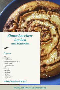 Soll es einmal eine Alternative zur klassischen Zimtschnecke sein, dann ist dieser Zimtschnecken-Kuchen genau das richtige. Ein schwedischer Kladdkaka, der nach Zimt und Kardamom schmeckt und super einfach zu backen ist. #einfachschweden #zimtschnecke #kanelbulle #kladdkaka Fika, Muffins, Bakery, Vanilla, Norwegian Cuisine, Swedish Cuisine, Danish Recipes, Danish Food, Food And Drinks