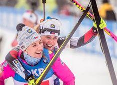 Oberhof 2019, women relay, Eva Pusarčíková and Lucie Charvátová (third place, photo by Petr Slavík)