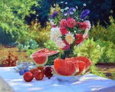 Oil Painting Texture, Garden Table, Fruits And Vegetables, Flower Art, Still Life, Watermelon, Berries, Art Gallery, Pastel
