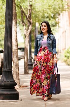 cute & little blog | cropped denim jacket, target striped floral maxi | print mixing | summer fall fashion transition - done