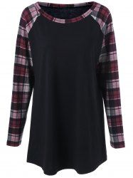 Plus Size Raglan Sleeve Plaid Trim T-Shirt
