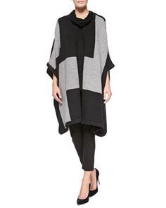 Road Map Wool-Blend Poncho, Cowl-Neck Silk-Cashmere Tunic & Ponte Slim Ankle Pants, Women\'s  by Joan Vass at Neiman Marcus.