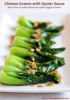 Restaurant-style Chinese Greens with Oyster Sauce Recipe - Read my 5 quick tips on how to cook Chinese greens | rasamalaysia.com Vegetable Recipes, Vegetarian Recipes, Cooking Recipes, Healthy Recipes, Cooking Ham, Authentic Chinese Recipes, Simple Chinese Recipes, Healthy Chinese, Chinese Vegetables