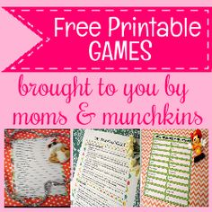 Free Printable Games for the Entire Family - Moms & Munchkins Christmas Games For Family, Childrens Christmas, Baby Shower Wording, Baby Shower Games, Beauty Party Ideas, Canada Day Party, Pop Baby Showers, Winter Kids, Julia