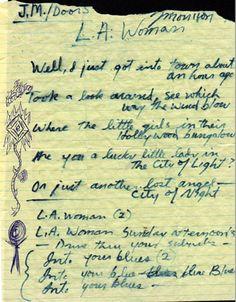 Jim Morrison's handwritten L.A. Woman lyrics