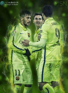 MSN - Messi - Suarez - Neymar by Ali-Albabkri on DeviantArt Messi And Neymar, Messi Soccer, Lionel Messi, Soccer Pro, Kids Soccer, Soccer Players, Ronaldo, Psg, Real Madrid