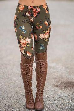 Rose & Blossom Floral Printed Legging (Olive) - NanaMacs.com - 1