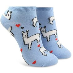 Forever21 Llama Love Ankle Socks ($1.90) ❤ liked on Polyvore featuring intimates, hosiery, socks, graphic socks, tennis socks, heart socks, forever 21 and ankle socks