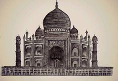 Sketch of Taj Mahal, India