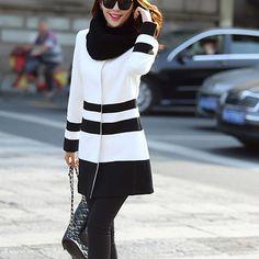 Fashion Contrast Color Stripes Long Sleeve Slim Fit Woolen Coat