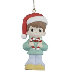Hang the Kurt S. Adler in. Precious Moments Boy Ornament from your Christmas tree to bring the charm of Precious Moments figurines to your holiday. Christmas Fun, Christmas Decorations, Xmas, Christmas Ornaments, Holiday Decor, Precious Moments Figurines, Home Decor Outlet, Candy Cane, Little Boys