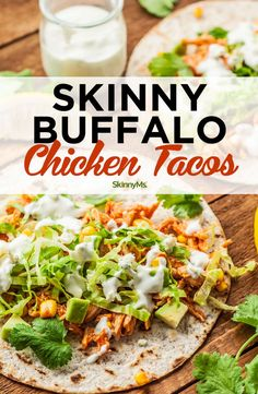 Skinny Buffalo Chicken Tacos are the perfect marriage of hot and saucy buffalo and everyone's favorite Mexican go-to. Skinny Buffalo Chicken Tacos are the perfect marriage of hot and saucy buffalo and everyone's favorite Mexican go-to. Healthy Dinner Recipes, Gourmet Recipes, Mexican Food Recipes, Cooking Recipes, Pizza Recipes, Cheap Recipes, Skinny Recipes, Cooking Kale, Fast Recipes