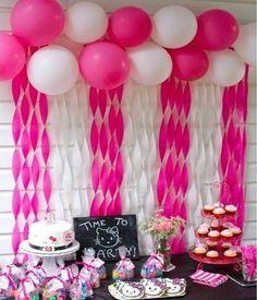 Loves of Life: Emelines Hello Kitty Birthday Party Balloon/Streamer wall. Loves of Life: Eme Streamer Wall, Streamer Decorations, Streamers, Streamer Ideas, 3rd Birthday Parties, Baby Birthday, Birthday Party Decorations, Birthday Cake, Hello Kitty Birthday Party Ideas
