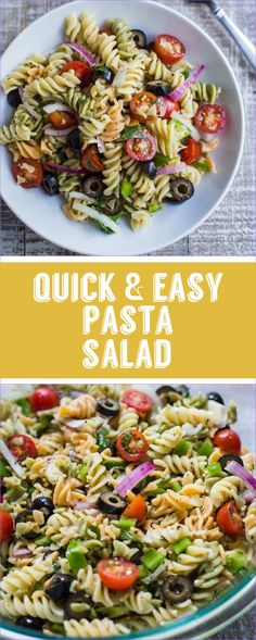 Quick and Easy Vegan Pasta Salad-This Recipes Comes Together In Just About 10 Minutes And Is Perfect For Lazy Summer Meals That Are Healthy And Still Delicious Substitute The Noodles For Brown Rice Noodles To Make It Gluten Free Healthy Meal Prep, Healthy Salad Recipes, Vegetarian Recipes, Healthy Dishes, Vegan Brown Rice Recipes, Easy Vegan Meals, Free Recipes, Vegan Recipes Easy Healthy, Easy Vegan Lunch