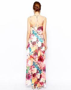 Image 2 ofWarehouse Rose Printed Maxi Dress