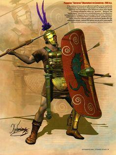 Roman Hastatus b. 1 Century, Punic Wars, Roman Legion, Roman Soldiers, Ancient Rome, Roman Empire, Warfare, Art History, Medieval